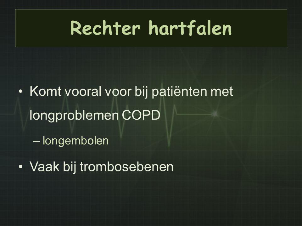 Rechter hartfalen Komt vooral voor bij patiënten met longproblemen COPD –longembolen Vaak bij trombosebenen