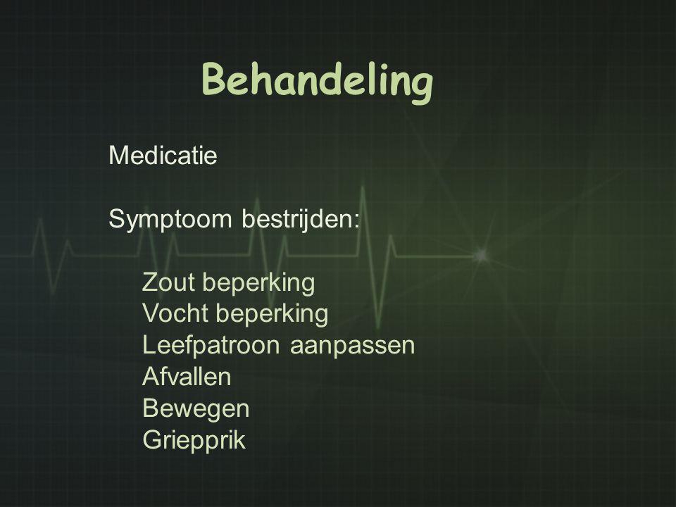 Behandeling Medicatie Symptoom bestrijden: Zout beperking Vocht beperking Leefpatroon aanpassen Afvallen Bewegen Griepprik