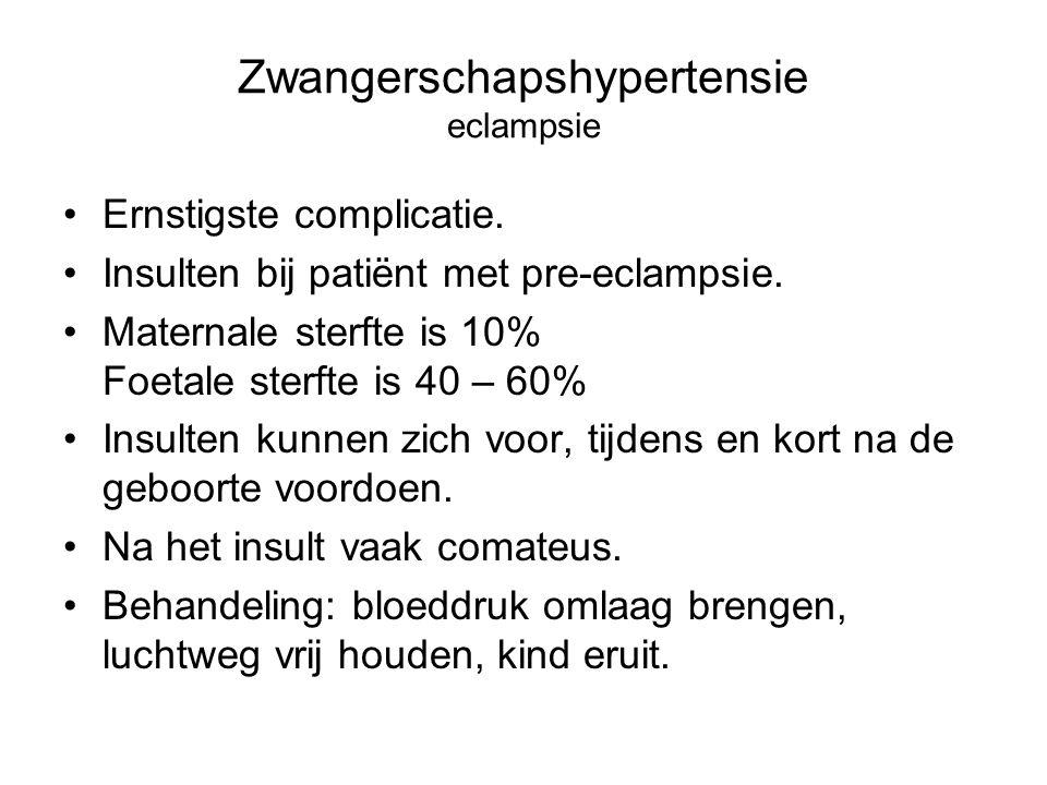 Zwangerschapshypertensie eclampsie Ernstigste complicatie. Insulten bij patiënt met pre-eclampsie. Maternale sterfte is 10% Foetale sterfte is 40 – 60