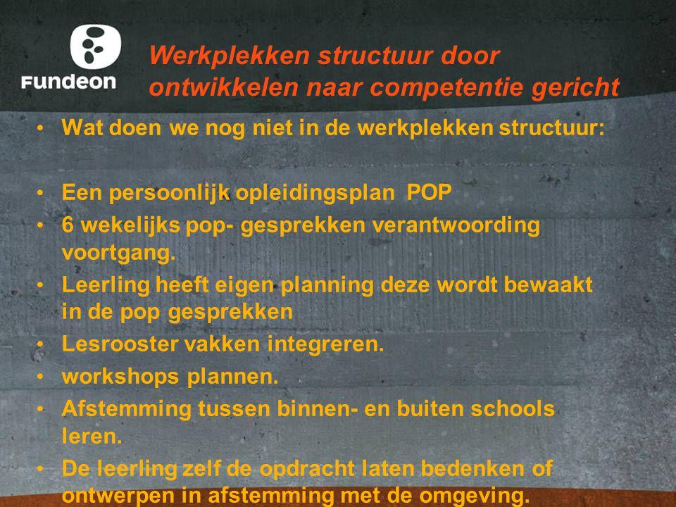 Werkplekken structuur door ontwikkelen naar competentie gericht Wat doen we nog niet in de werkplekken structuur: Een persoonlijk opleidingsplan POP 6 wekelijks pop- gesprekken verantwoording voortgang.