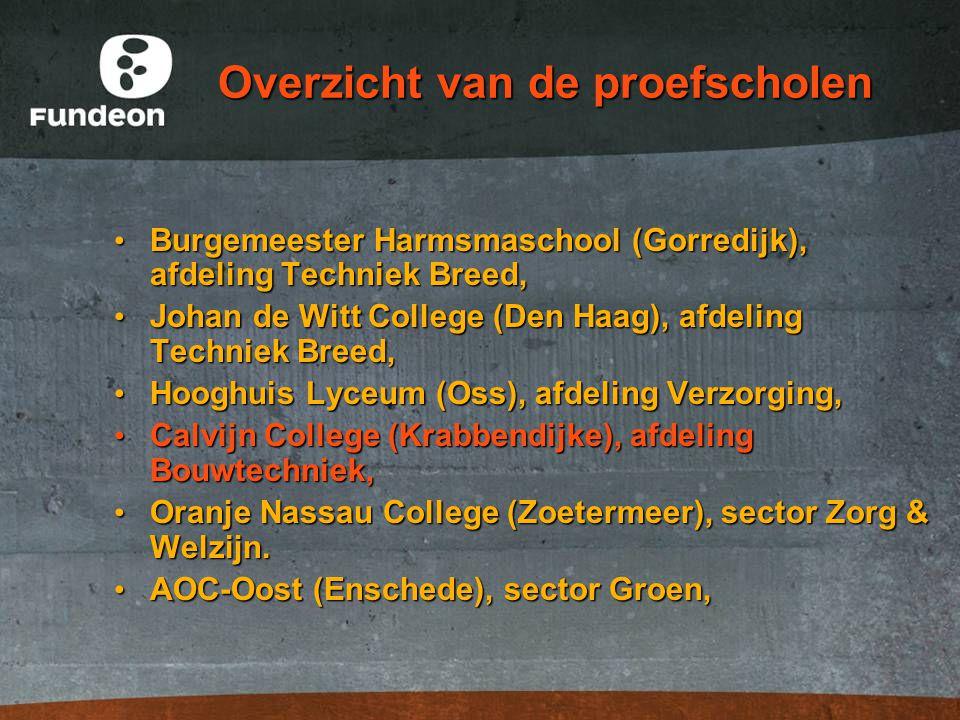 Overzicht van de proefscholen Burgemeester Harmsmaschool (Gorredijk), afdeling Techniek Breed, Burgemeester Harmsmaschool (Gorredijk), afdeling Techni