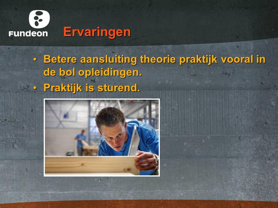 Ervaringen Betere aansluiting theorie praktijk vooral in de bol opleidingen.