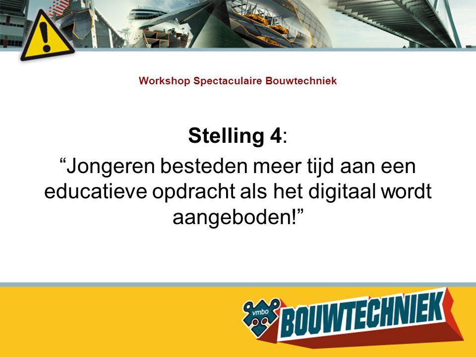 """Workshop Spectaculaire Bouwtechniek Stelling 4: """"Jongeren besteden meer tijd aan een educatieve opdracht als het digitaal wordt aangeboden!"""""""