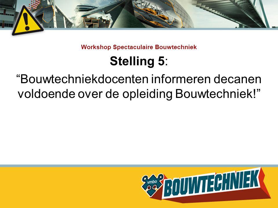 """Workshop Spectaculaire Bouwtechniek Stelling 5: """"Bouwtechniekdocenten informeren decanen voldoende over de opleiding Bouwtechniek!"""""""