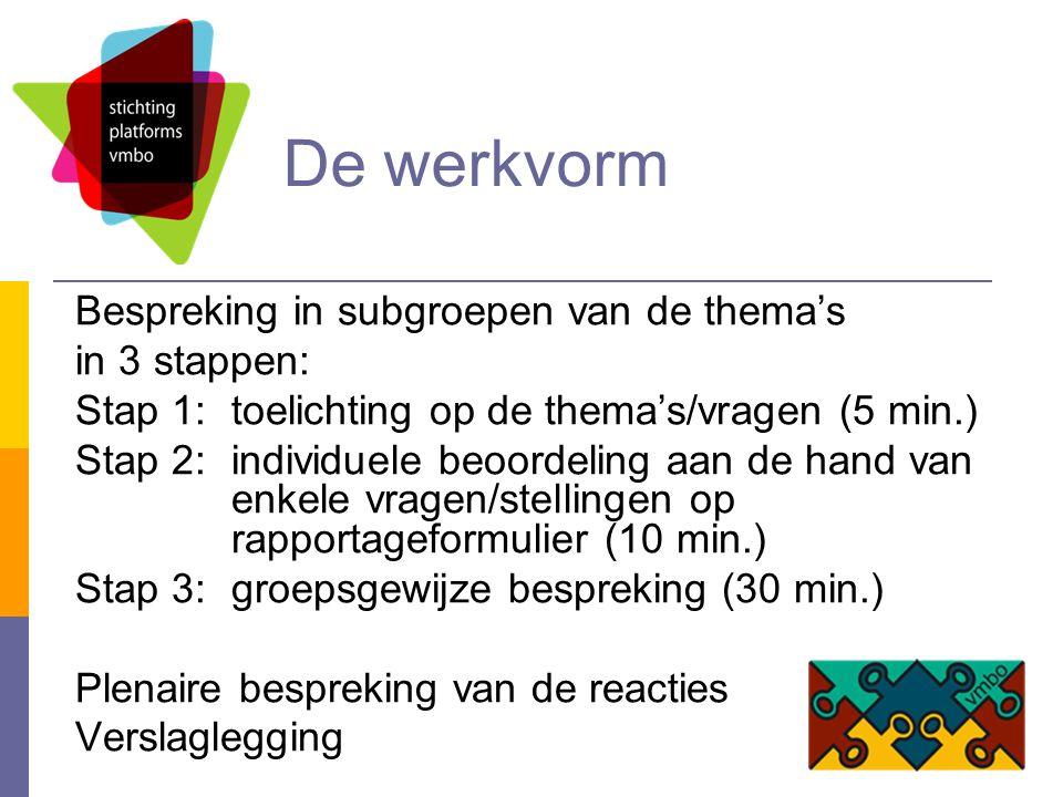 De werkvorm Bespreking in subgroepen van de thema's in 3 stappen: Stap 1: toelichting op de thema's/vragen (5 min.) Stap 2: individuele beoordeling aan de hand van enkele vragen/stellingen op rapportageformulier (10 min.) Stap 3: groepsgewijze bespreking (30 min.) Plenaire bespreking van de reacties Verslaglegging