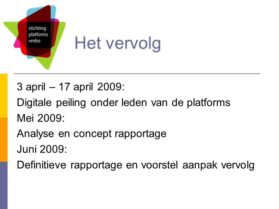 Het vervolg 3 april – 17 april 2009: Digitale peiling onder leden van de platforms Mei 2009: Analyse en concept rapportage Juni 2009: Definitieve rapportage en voorstel aanpak vervolg