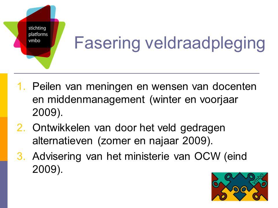 Fasering veldraadpleging 1.Peilen van meningen en wensen van docenten en middenmanagement (winter en voorjaar 2009).