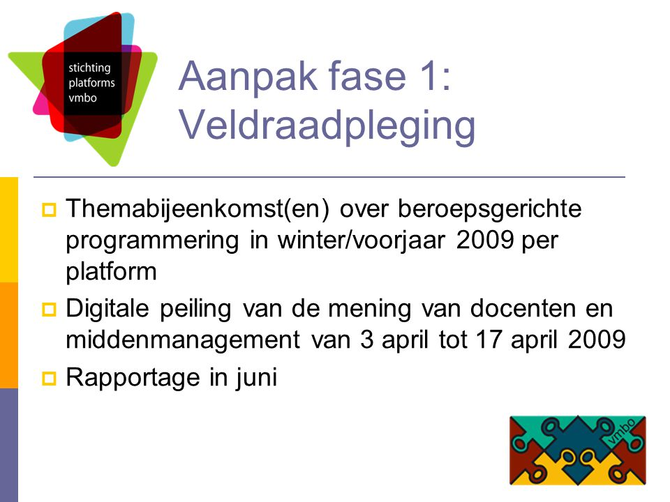 Aanpak fase 1: Veldraadpleging  Themabijeenkomst(en) over beroepsgerichte programmering in winter/voorjaar 2009 per platform  Digitale peiling van de mening van docenten en middenmanagement van 3 april tot 17 april 2009  Rapportage in juni
