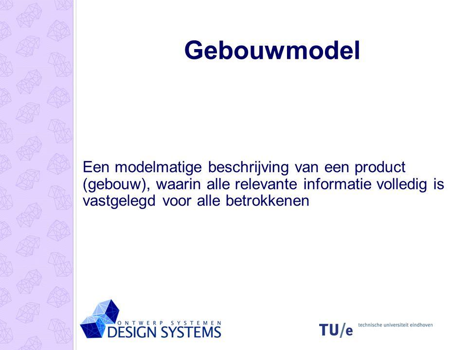 Gebouwmodel Een modelmatige beschrijving van een product (gebouw), waarin alle relevante informatie volledig is vastgelegd voor alle betrokkenen