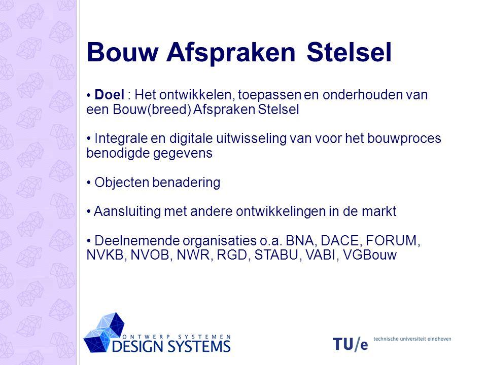 Bouw Afspraken Stelsel Doel : Het ontwikkelen, toepassen en onderhouden van een Bouw(breed) Afspraken Stelsel Integrale en digitale uitwisseling van v