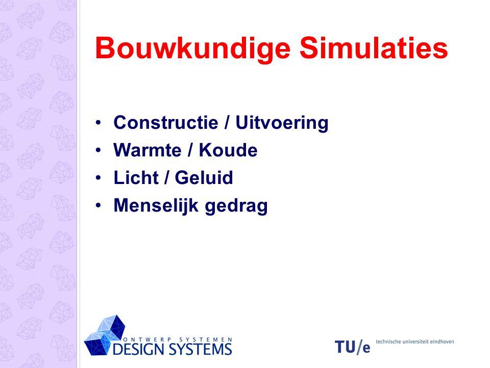 Bouwkundige Simulaties Constructie / Uitvoering Warmte / Koude Licht / Geluid Menselijk gedrag