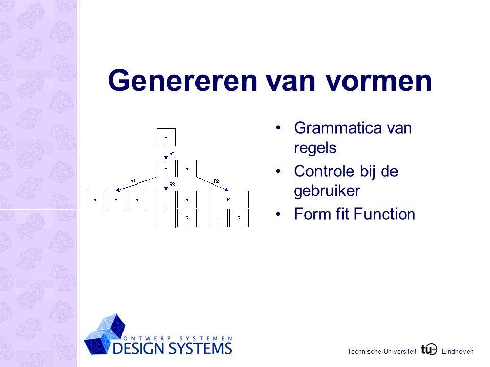 Eindhoven Technische Universiteit Genereren van vormen Grammatica van regels Controle bij de gebruiker Form fit Function