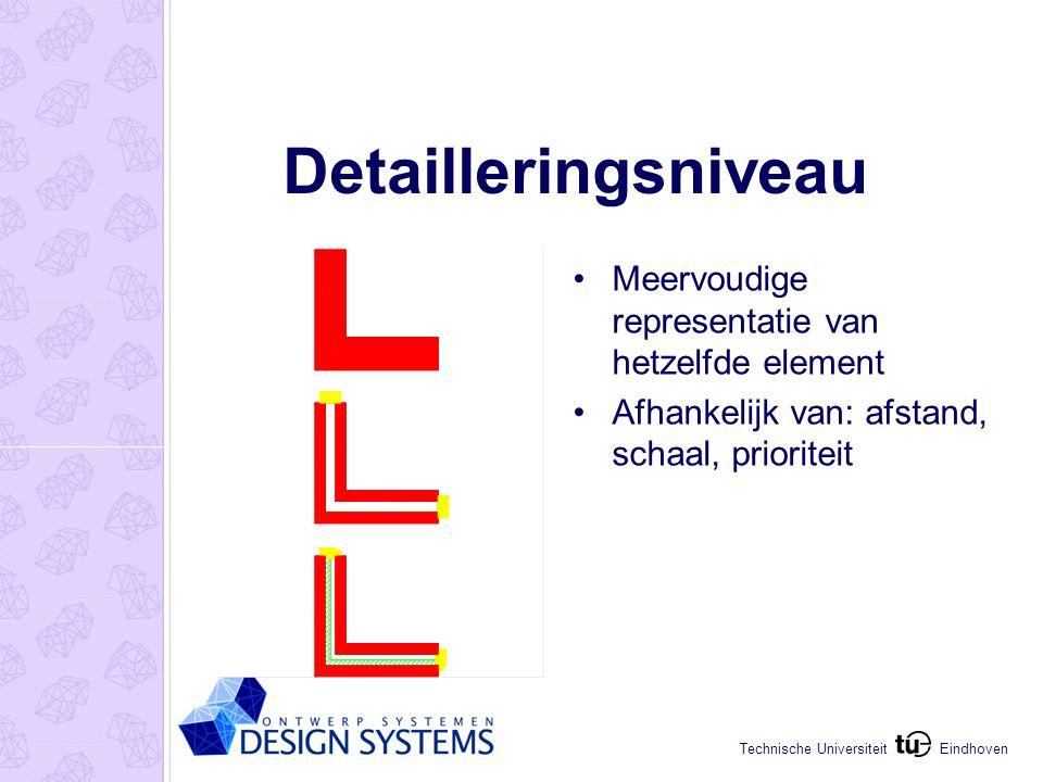 Eindhoven Technische Universiteit Detailleringsniveau Meervoudige representatie van hetzelfde element Afhankelijk van: afstand, schaal, prioriteit