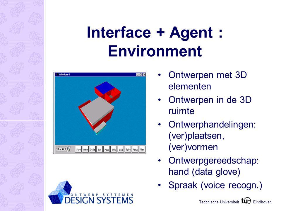Eindhoven Technische Universiteit Interface + Agent : Environment Ontwerpen met 3D elementen Ontwerpen in de 3D ruimte Ontwerphandelingen: (ver)plaatsen, (ver)vormen Ontwerpgereedschap: hand (data glove) Spraak (voice recogn.)