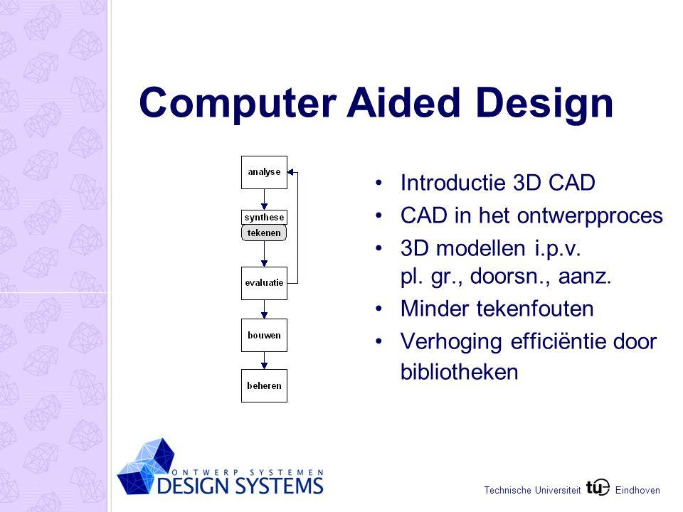 Eindhoven Technische Universiteit Computer Aided Engineering Geometrische beschrijving van vormen CAD geintegreerd met evaluatie EEM, energie, visualisatie Facility Management