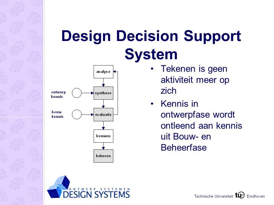 Eindhoven Technische Universiteit Design Decision Support System Tekenen is geen aktiviteit meer op zich Kennis in ontwerpfase wordt ontleend aan kennis uit Bouw- en Beheerfase