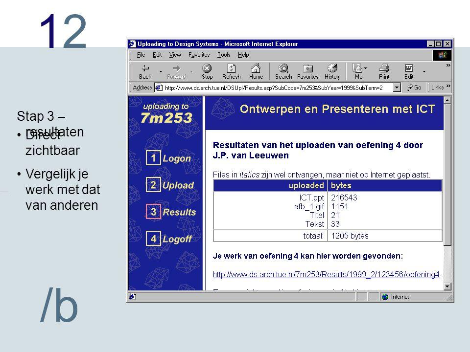 1212 /b Direct zichtbaar Vergelijk je werk met dat van anderen Stap 3 – resultaten