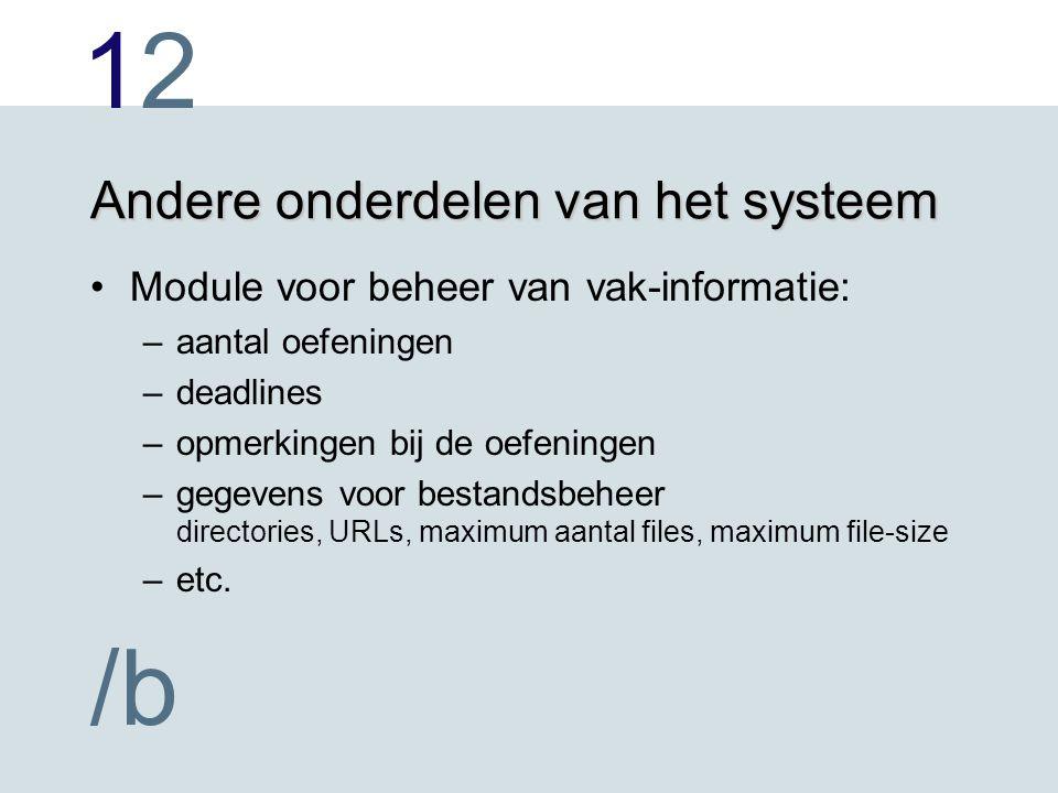 1212 /b Andere onderdelen van het systeem Module voor beheer van vak-informatie: –aantal oefeningen –deadlines –opmerkingen bij de oefeningen –gegeven
