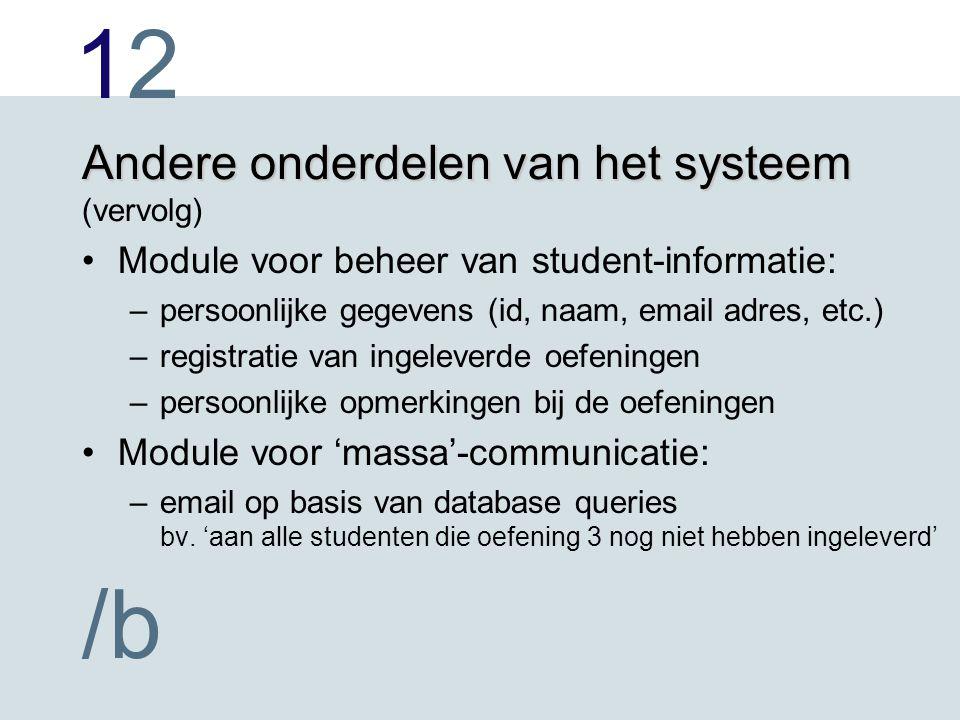 1212 /b Andere onderdelen van het systeem Andere onderdelen van het systeem (vervolg) Module voor beheer van student-informatie: –persoonlijke gegeven