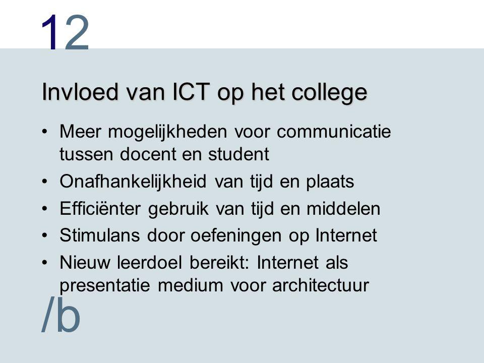 1212 /b Invloed van ICT op het college Meer mogelijkheden voor communicatie tussen docent en student Onafhankelijkheid van tijd en plaats Efficiënter