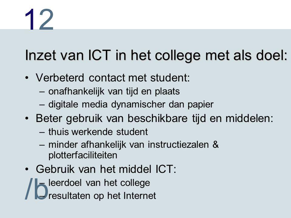 1212 /b Inzet van ICT in het college met als doel: Verbeterd contact met student: –onafhankelijk van tijd en plaats –digitale media dynamischer dan pa