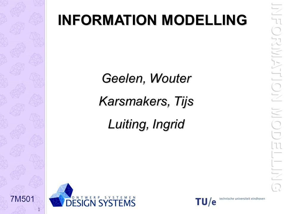 7M501 1 INFORMATION MODELLING Geelen, Wouter Karsmakers, Tijs Karsmakers, Tijs Luiting, Ingrid Luiting, Ingrid