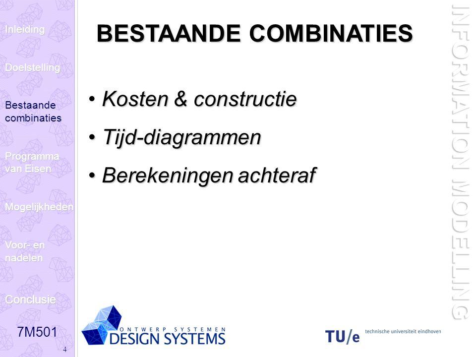 7M501 4 INFORMATION MODELLING BESTAANDE COMBINATIES Kosten & constructie Tijd-diagrammen Tijd-diagrammen Berekeningen achteraf Berekeningen achteraf InleidingDoelstelling Bestaande combinaties Programma van Eisen Mogelijkheden Voor- en nadelen Conclusie