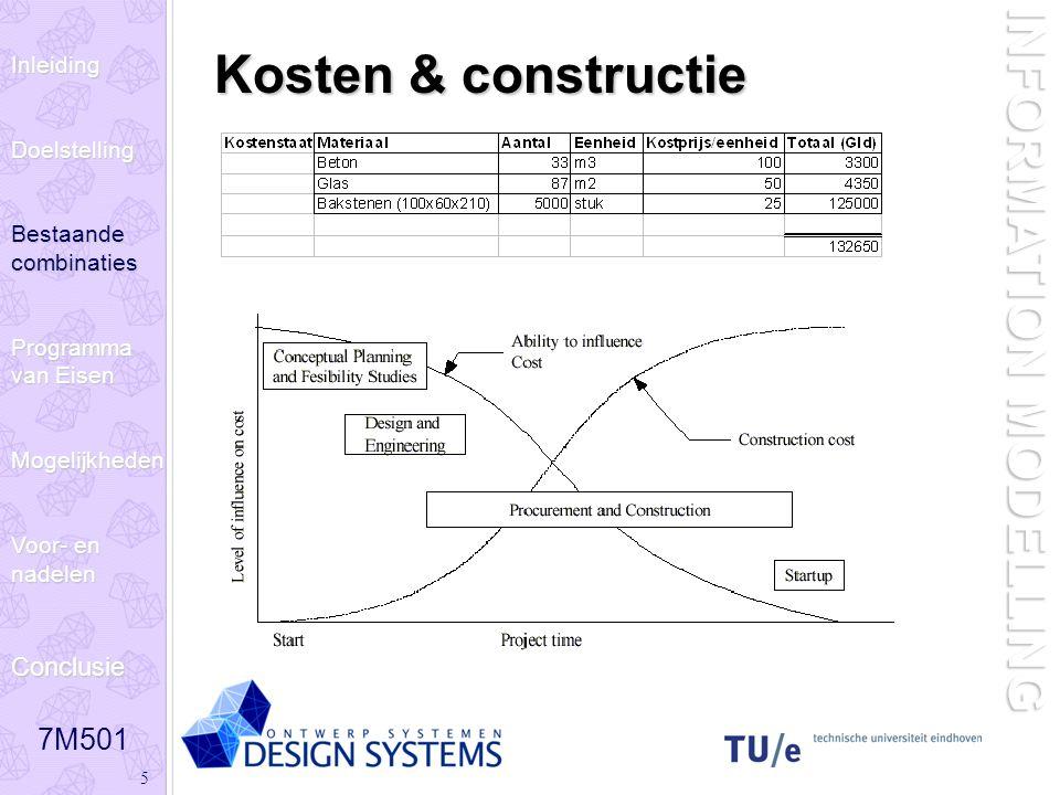 7M501 5 INFORMATION MODELLING Kosten & constructie InleidingDoelstelling Bestaande combinaties Programma van Eisen Mogelijkheden Voor- en nadelen Conc