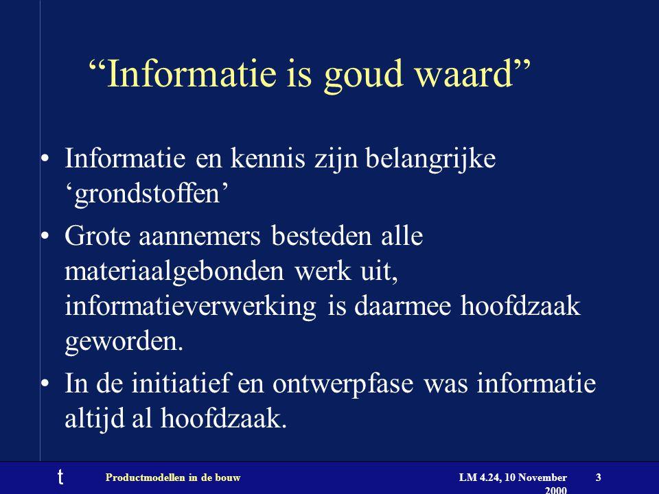 """t LM 4.24, 10 November 2000 Productmodellen in de bouw3 """"Informatie is goud waard"""" Informatie en kennis zijn belangrijke 'grondstoffen' Grote aannemer"""