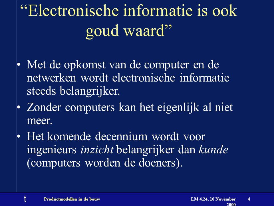 t LM 4.24, 10 November 2000 Productmodellen in de bouw4 Electronische informatie is ook goud waard Met de opkomst van de computer en de netwerken wordt electronische informatie steeds belangrijker.