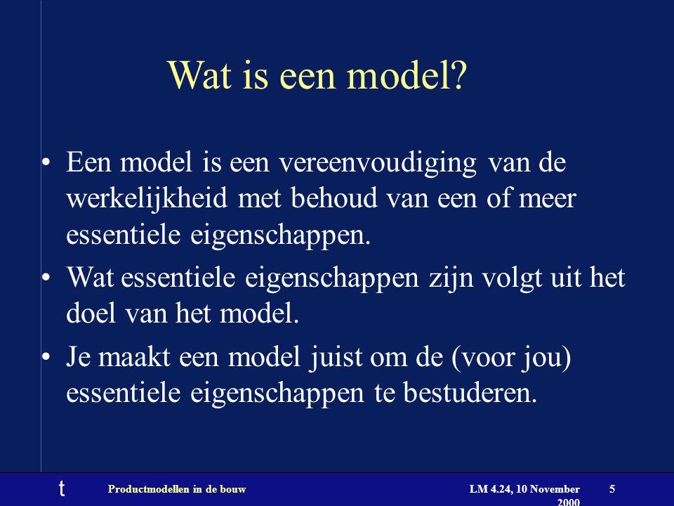 t LM 4.24, 10 November 2000 Productmodellen in de bouw6 Voorbeelden van modellen Een maquette.