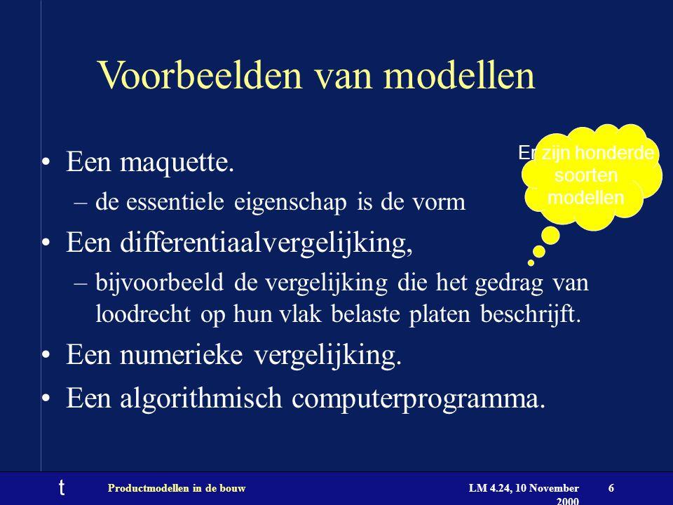 t LM 4.24, 10 November 2000 Productmodellen in de bouw6 Voorbeelden van modellen Een maquette. –de essentiele eigenschap is de vorm Een differentiaalv