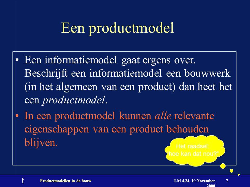 t LM 4.24, 10 November 2000 Productmodellen in de bouw18 TNO BouwInformatica Ontwikkeld de IFC browser Stage plekken maar ook: E-Biz in de bouw wereld BCXML Object Trees configuratie management Virtual Building Projects Environments