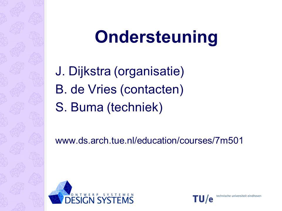 Ondersteuning J. Dijkstra (organisatie) B. de Vries (contacten) S. Buma (techniek) www.ds.arch.tue.nl/education/courses/7m501