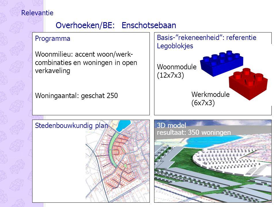 Relevantie Programma Woonmilieu: accent woon/werk- combinaties en woningen in open verkaveling Woningaantal: geschat 250 Woonmodule (12x7x3) Werkmodule (6x7x3) Basis- rekeneenheid : referentie Legoblokjes Overhoeken/BE: Enschotsebaan Stedenbouwkundig plan3D model resultaat: 350 woningen