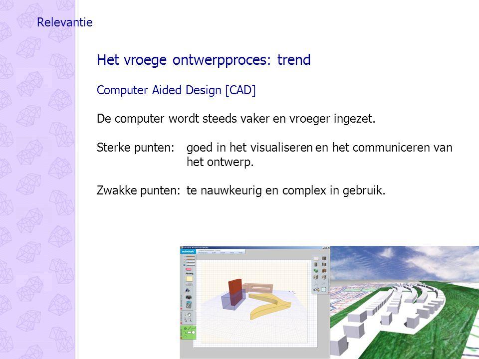 Relevantie Het vroege ontwerpproces: trend Computer Aided Design [CAD] De computer wordt steeds vaker en vroeger ingezet.