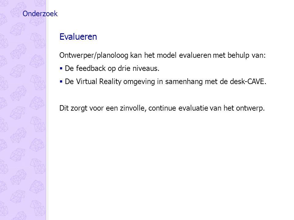 Onderzoek Evalueren Ontwerper/planoloog kan het model evalueren met behulp van:  De feedback op drie niveaus.
