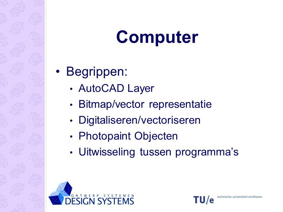 Computer Begrippen: AutoCAD Layer Bitmap/vector representatie Digitaliseren/vectoriseren Photopaint Objecten Uitwisseling tussen programma's