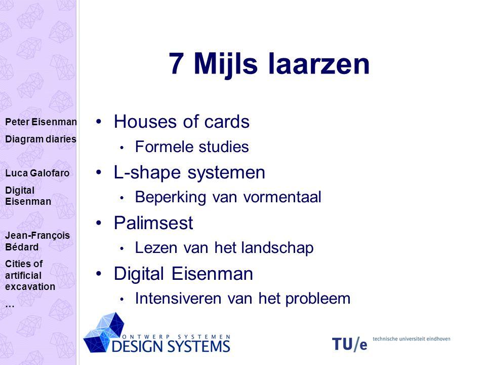 7 Mijls laarzen Houses of cards Formele studies L-shape systemen Beperking van vormentaal Palimsest Lezen van het landschap Digital Eisenman Intensive