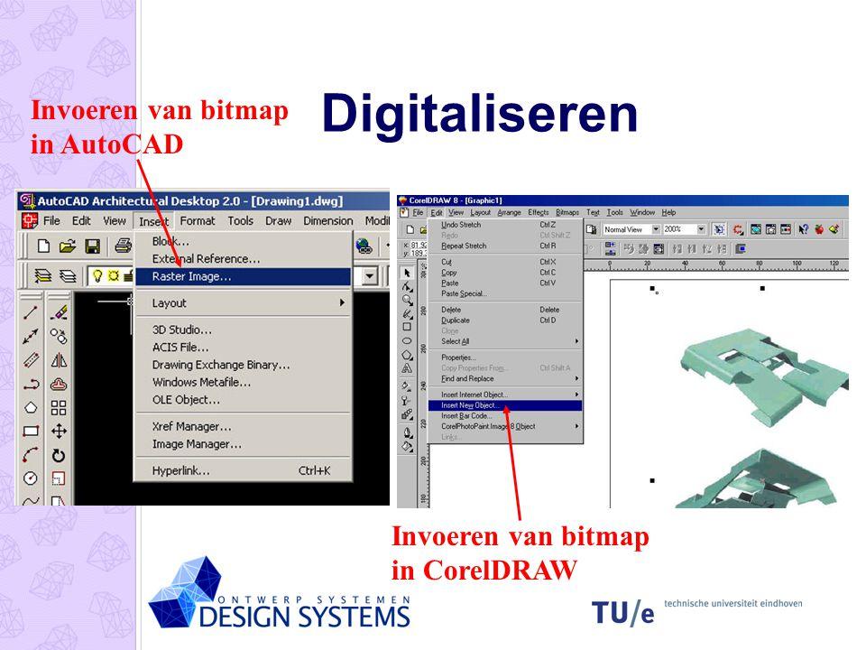 Digitaliseren Invoeren van bitmap in AutoCAD Invoeren van bitmap in CorelDRAW