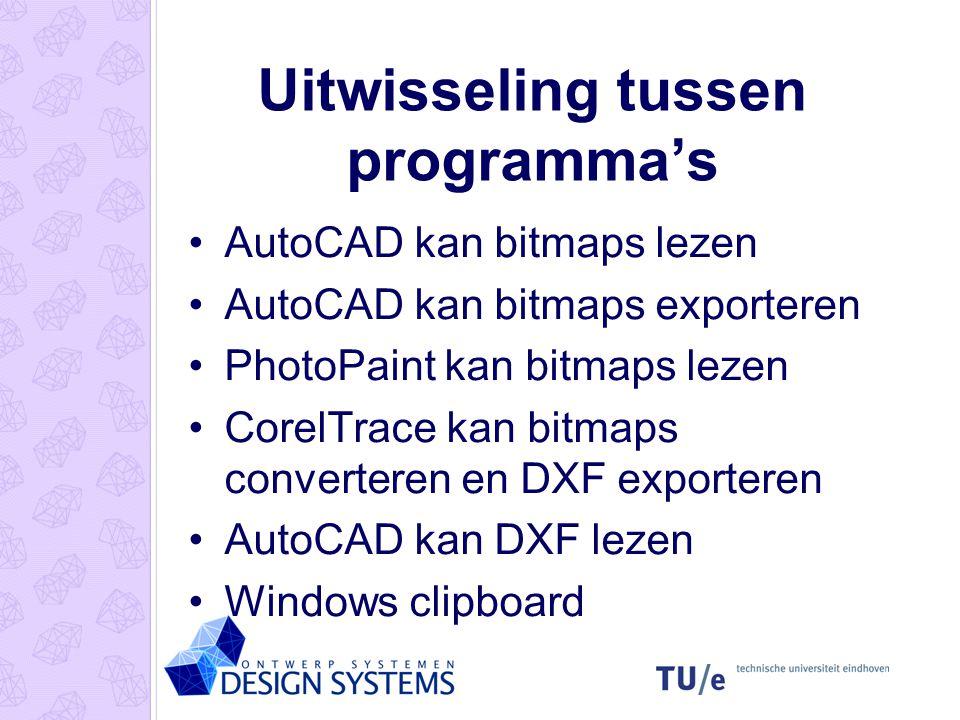 Uitwisseling tussen programma's AutoCAD kan bitmaps lezen AutoCAD kan bitmaps exporteren PhotoPaint kan bitmaps lezen CorelTrace kan bitmaps converter