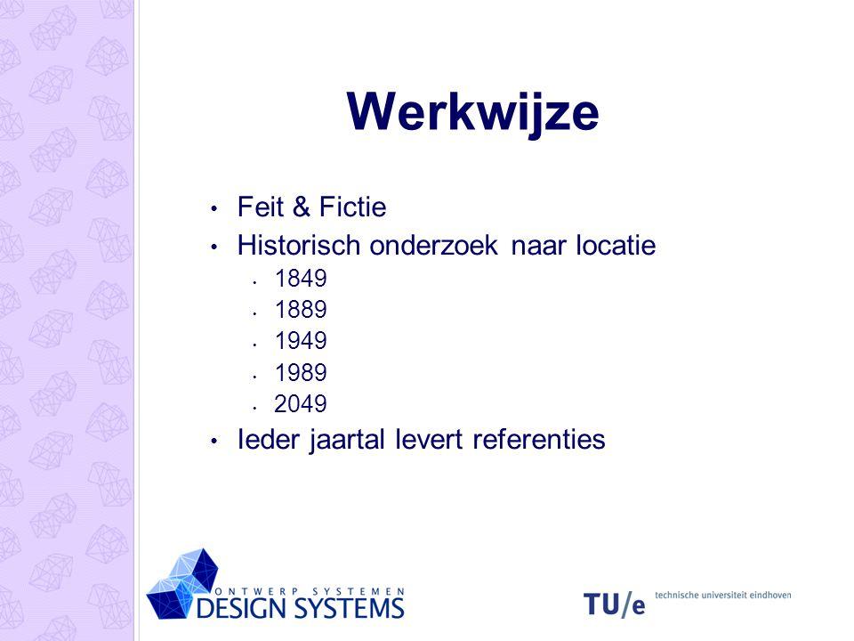 Werkwijze Feit & Fictie Historisch onderzoek naar locatie 1849 1889 1949 1989 2049 Ieder jaartal levert referenties