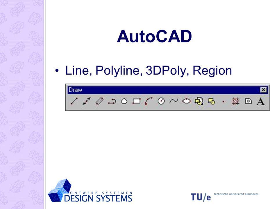 AutoCAD Line, Polyline, 3DPoly, Region