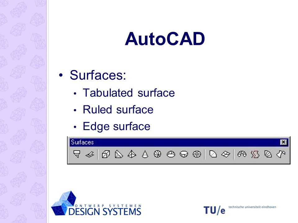 AutoCAD Surfaces: Tabulated surface Ruled surface Edge surface