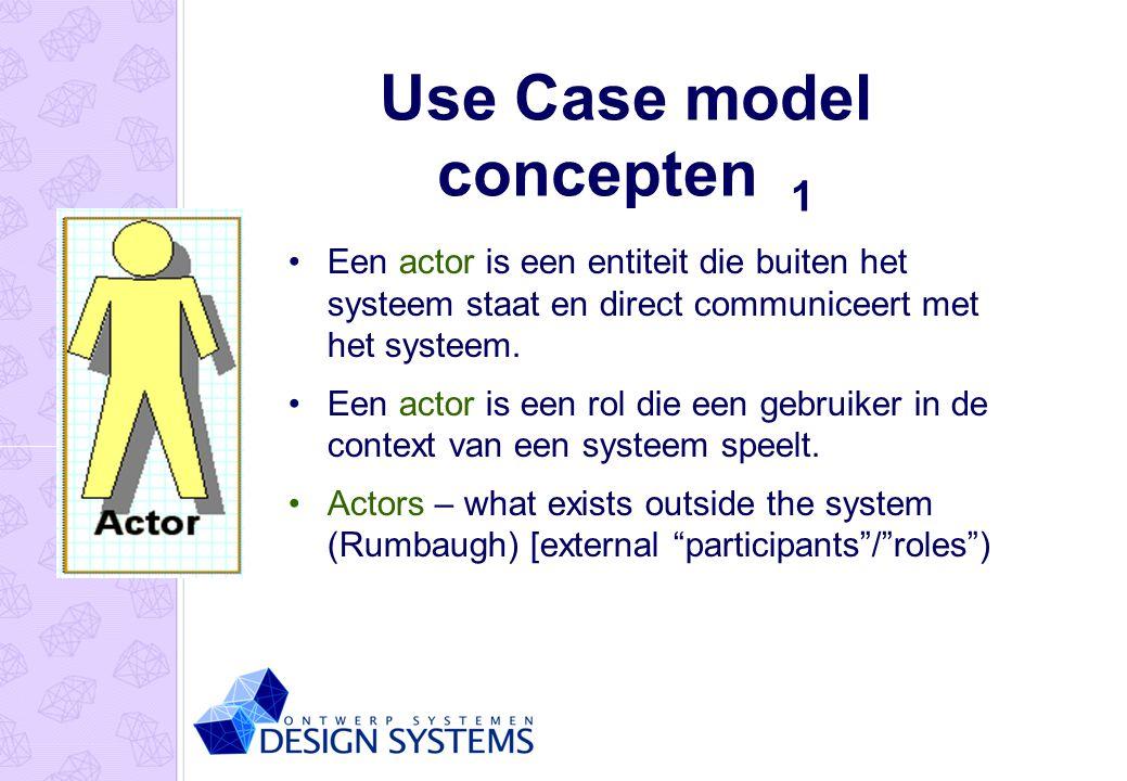 Use Case model concepten 1 Een actor is een entiteit die buiten het systeem staat en direct communiceert met het systeem. Een actor is een rol die een
