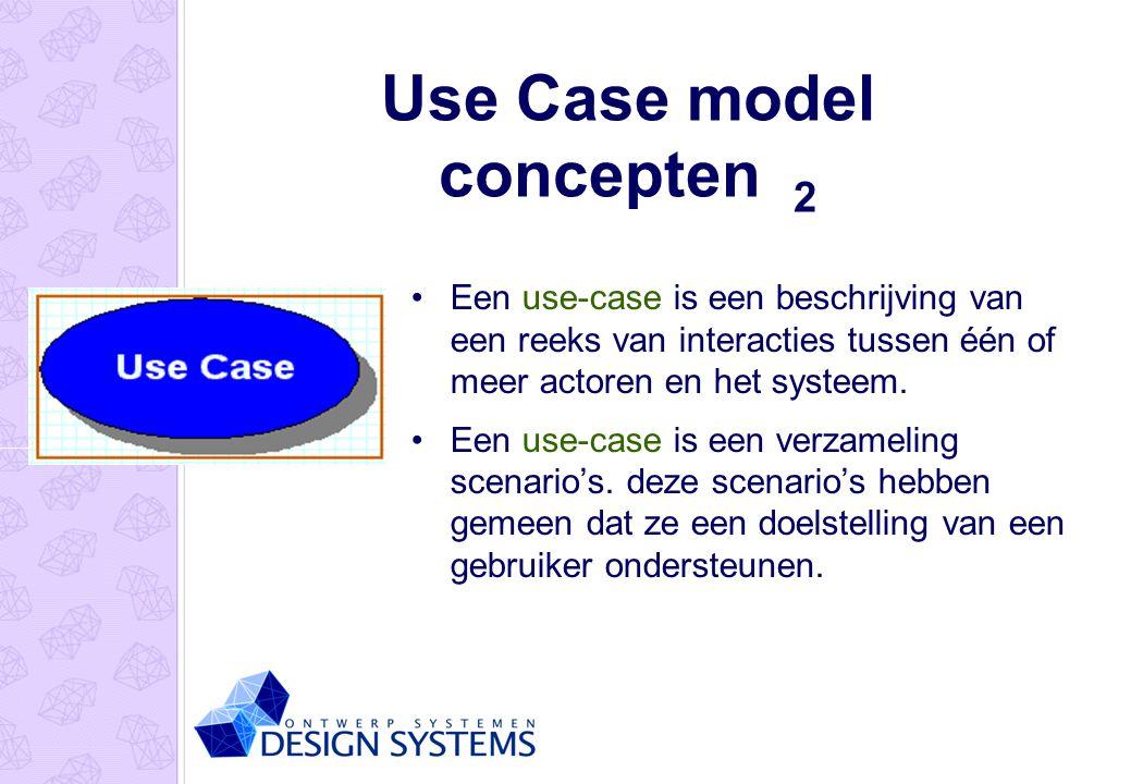 Use Case model concepten 2 Een use-case is een beschrijving van een reeks van interacties tussen één of meer actoren en het systeem. Een use-case is e