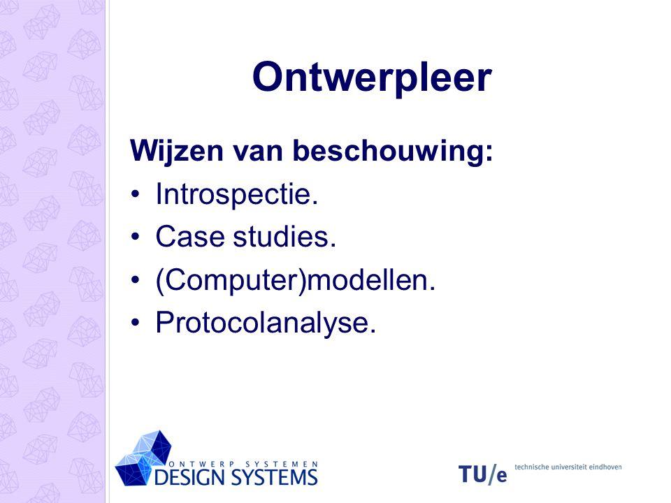 Ontwerpleer Ontwerpleer is de studie naar het ontwerpen. Gebaseerd op de praktijk. Descriptief. Prescriptief. Hoe werken ontwerpers? Hoe denken ontwer