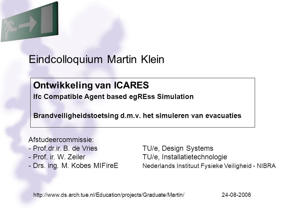 2/39Eindcolloquium Martin Klein Inhoud presentatie Inleiding Invoer gebouwgeometrie Evacuatiemodel Rookmodel Koppeling evacuatiemodel en rookmodel Conclusies Demo ICARES