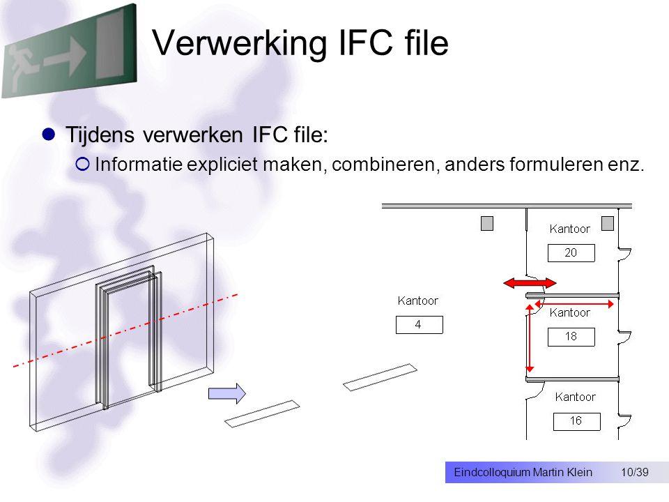 10/39Eindcolloquium Martin Klein Verwerking IFC file Tijdens verwerken IFC file:  Informatie expliciet maken, combineren, anders formuleren enz.