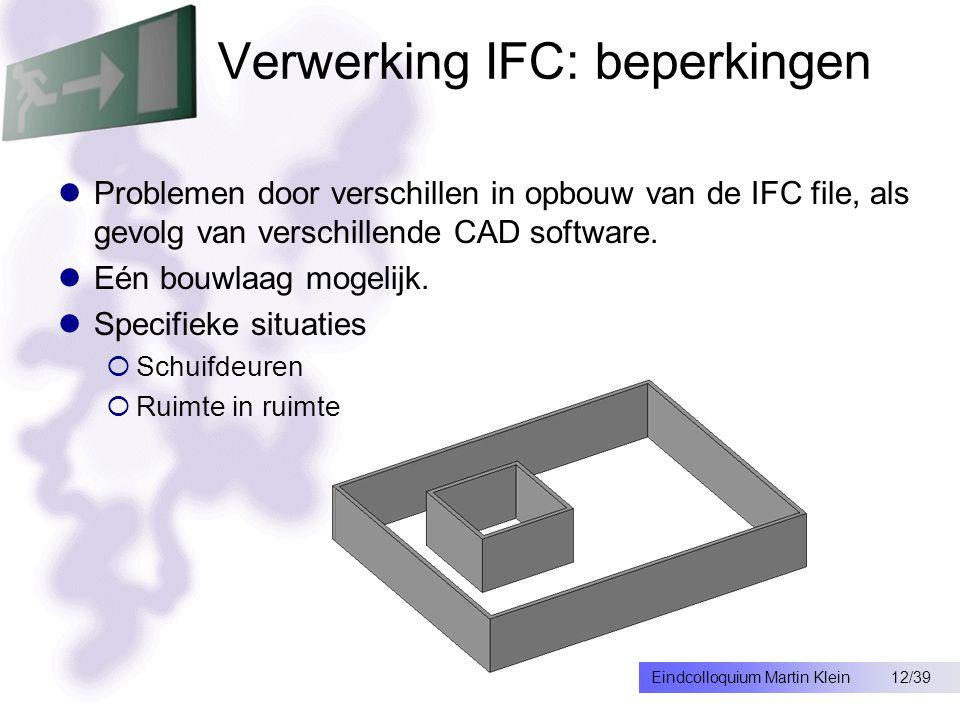 12/39Eindcolloquium Martin Klein Verwerking IFC: beperkingen Problemen door verschillen in opbouw van de IFC file, als gevolg van verschillende CAD software.